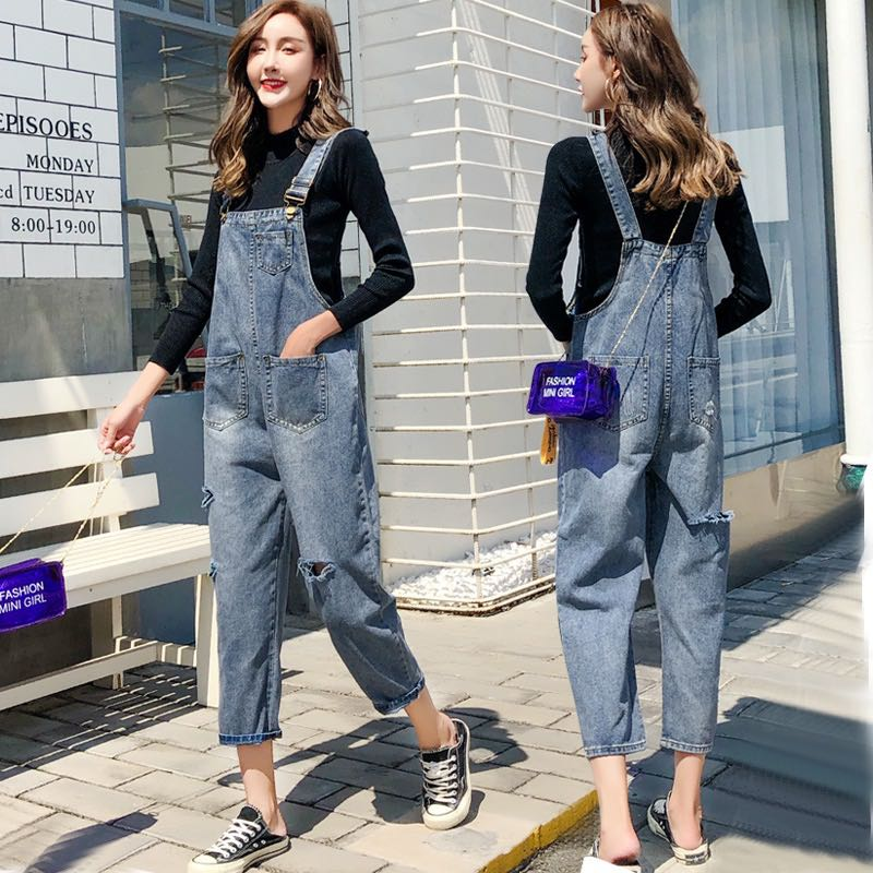 e91a32bbfa Denim Blue Coloured Pockets With Ripped Torns Dungaree Jumpsuit ...