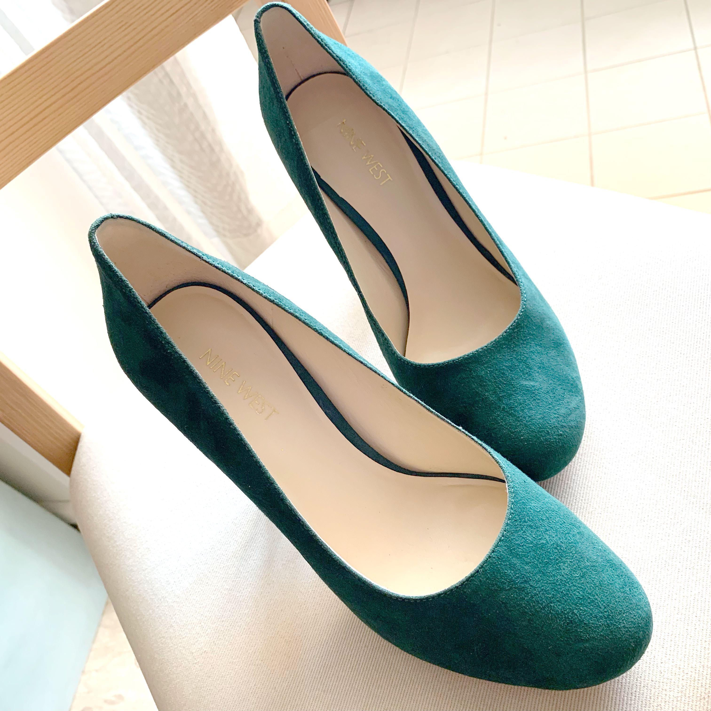 Emerald Green Nine West Suede Heels