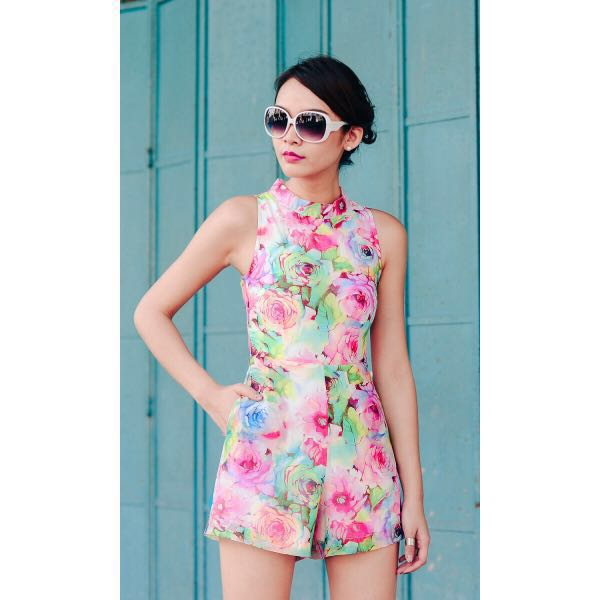 66d682cc911 Fashmob FM Bridge Colour Thy Roses Playsuit in Pink S (Premium ...