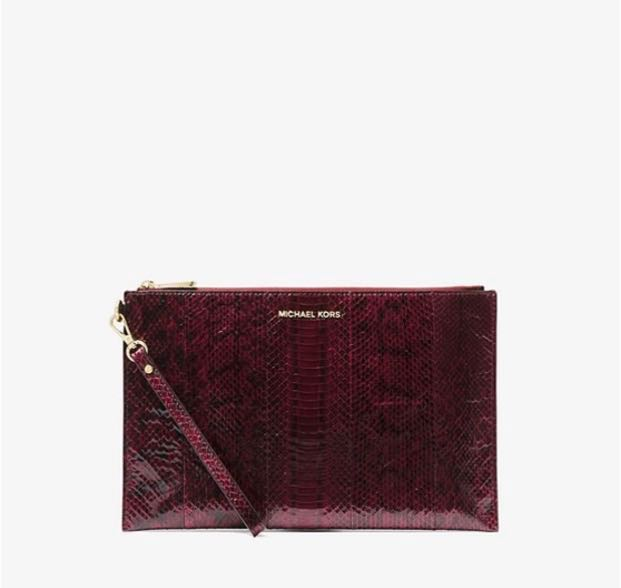 fa1d84768cfe49 Full set w receipt Michael Kors snakeskin clutch, Luxury, Bags ...