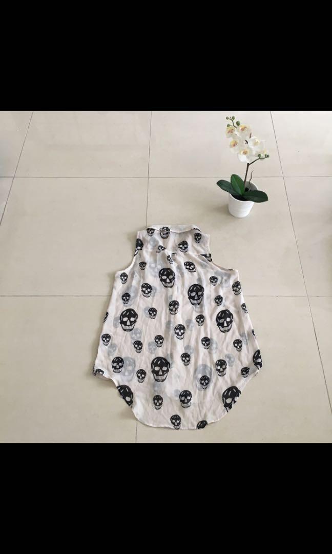 Glassons cream and black skull print collar sheer blouse