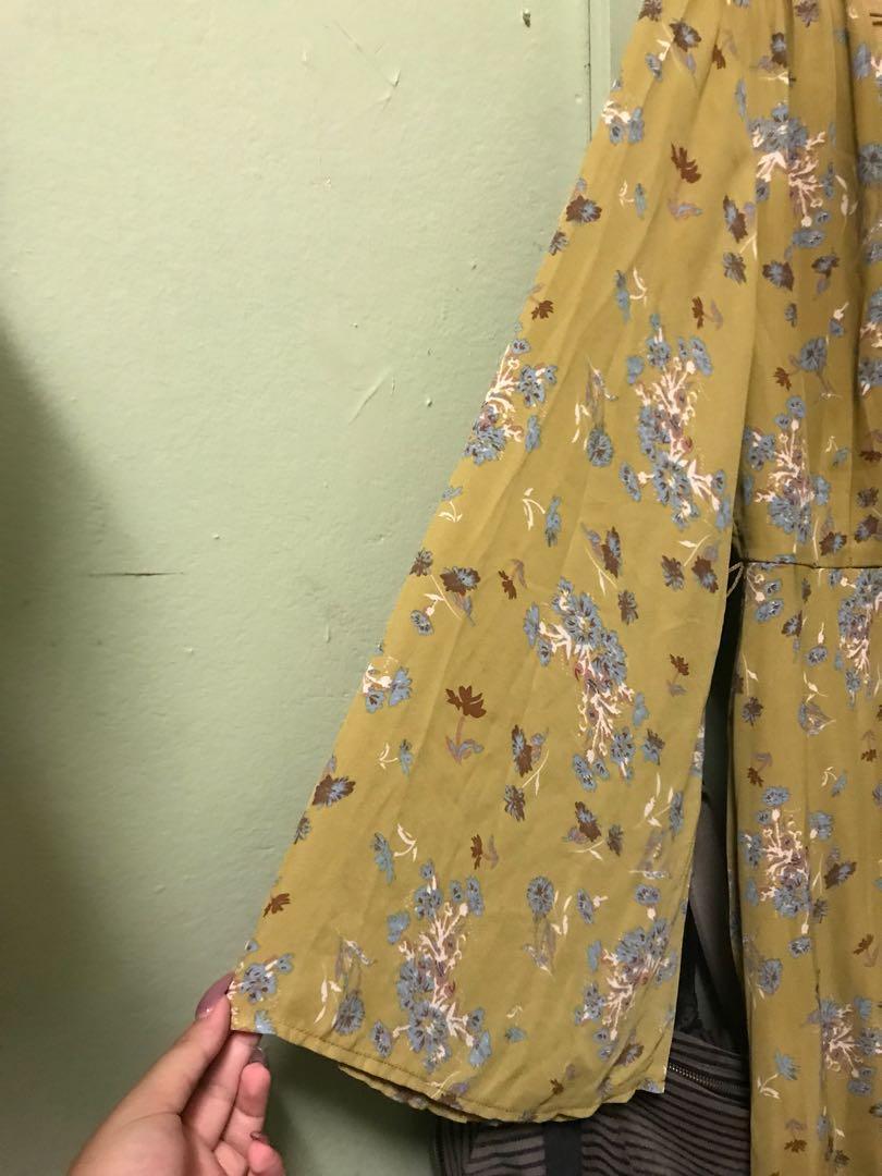 Green Yellow DOTTI Flare Hippie Long Sleeve Dress - Size 10