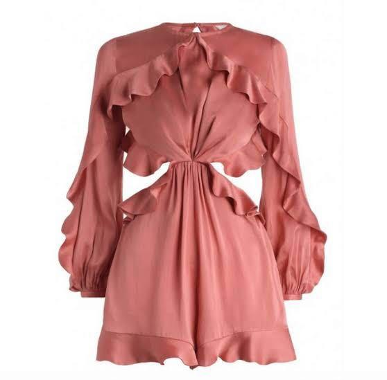 HIRE: Zimmermann Winsome Flutter Playsuit Guava - Size 0