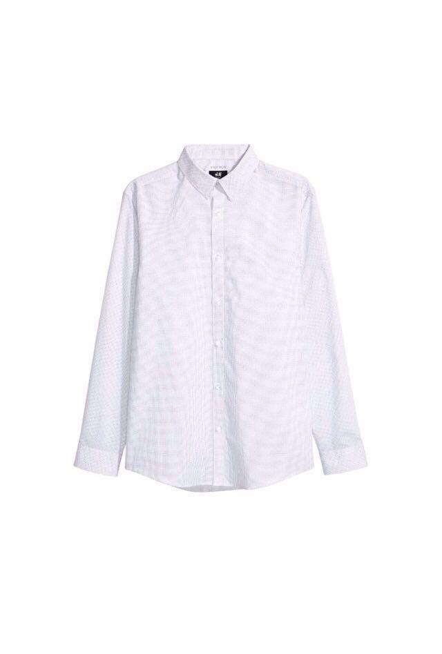 b8e784bedda4c H M Easy Iron White Spotted Slim fit Shirt