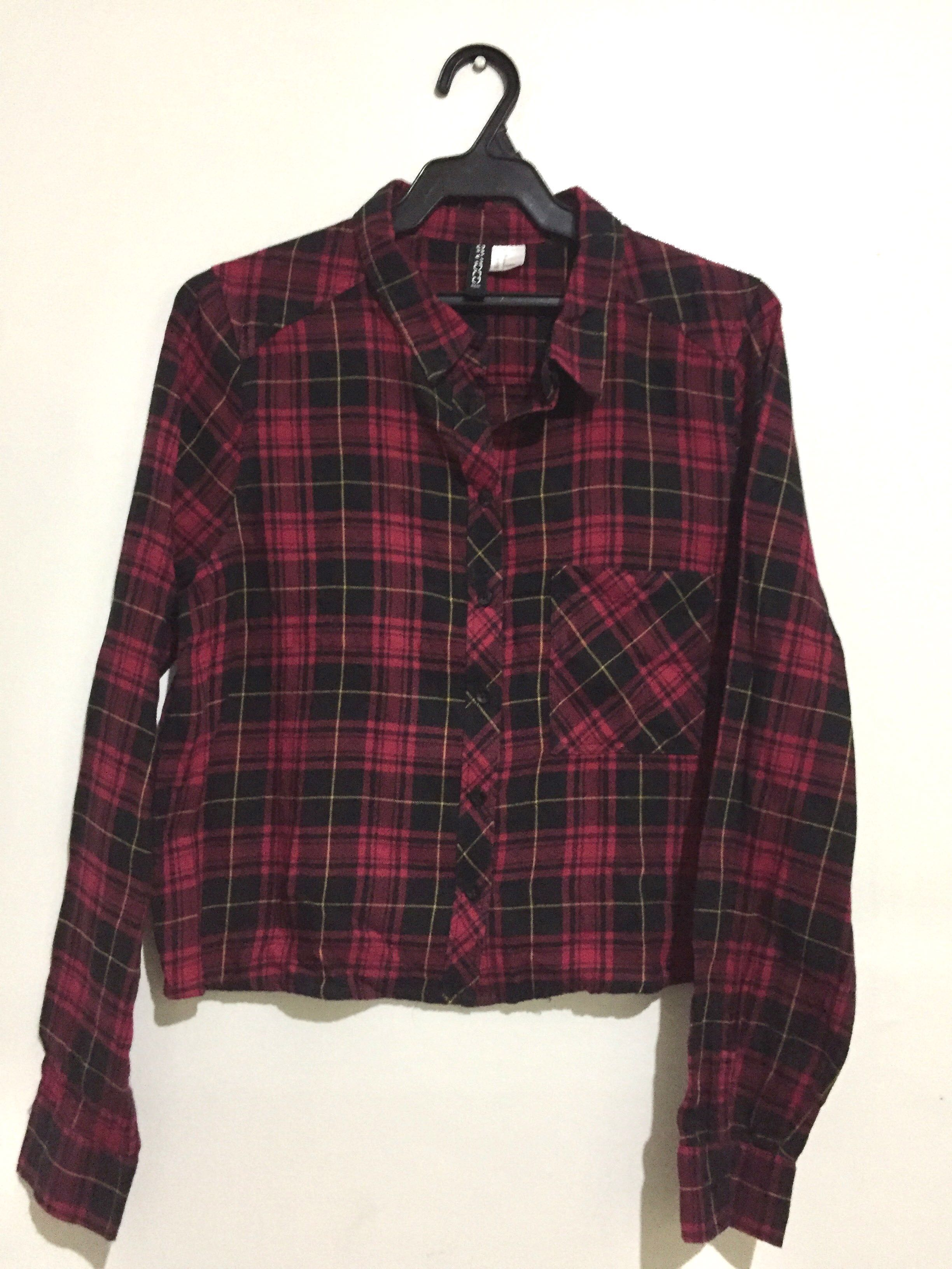 44bed8aa58476 H M  Red and Black Plaid Crop Top