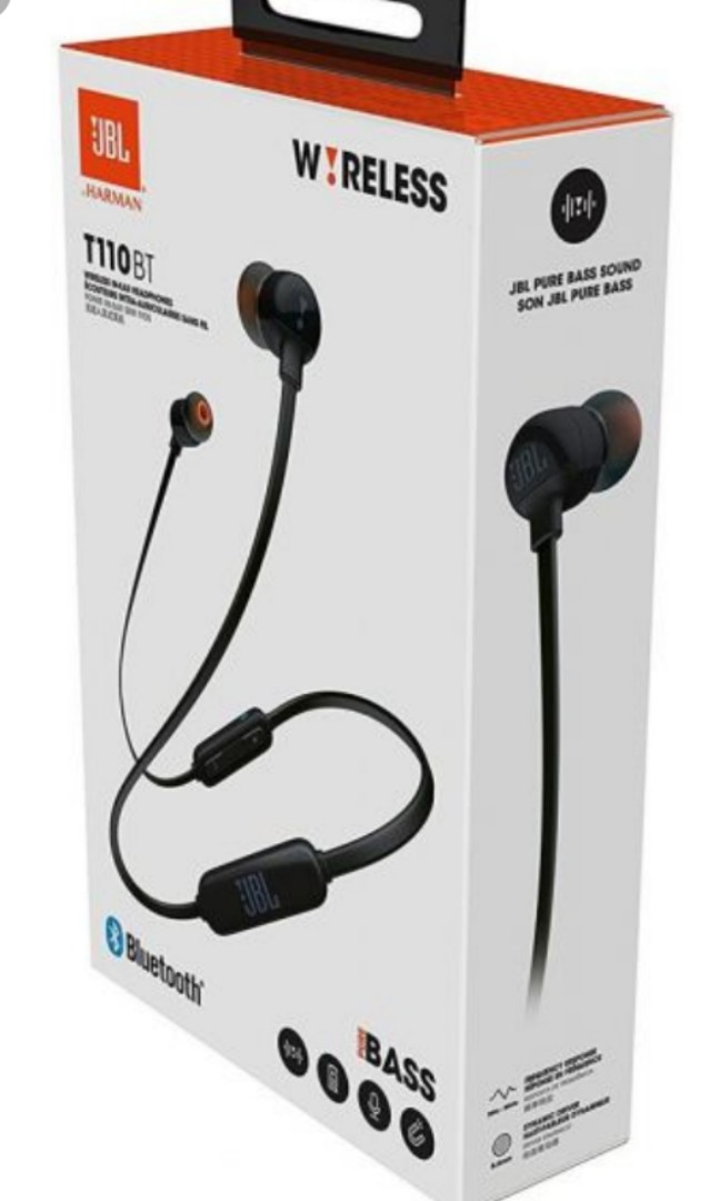 312935979ac JBL T110 BT Black Pure Bass Sound in-ear Bluetooth headphone, Electronics,  Audio on Carousell
