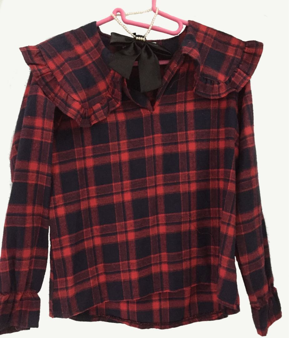 bdc5ea323053 Kawaii Goth Rock Cute Girl Punk Street Red and Black Flannel with ...