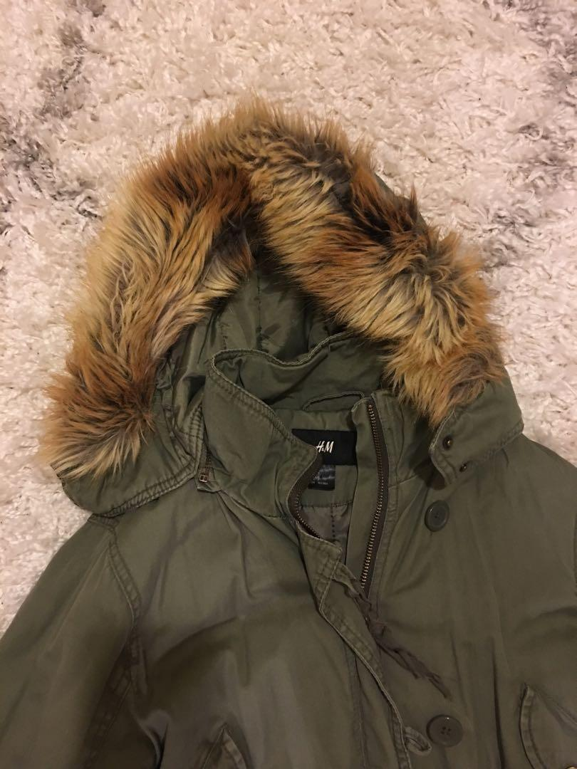 Long H&M Army Green Parka with tan faux fur hood - size M