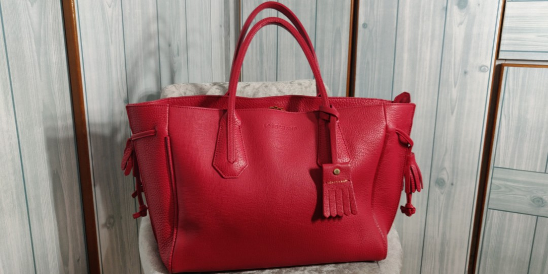 66de22d3f87c Longchamp Penelope Tote in Ruby Red Authentic handbag (leather ...