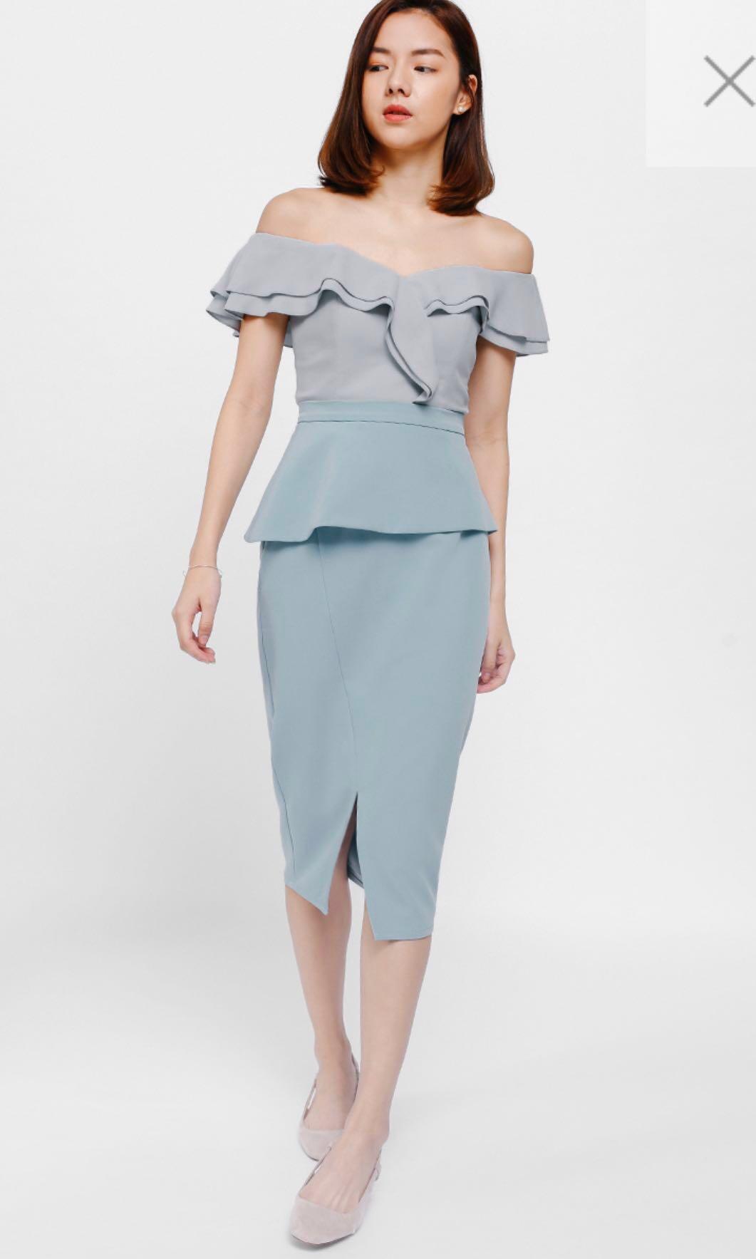 85a8812d1d4c Love Bonito LB Kessla Asymmetrical Peplum Midi Skirt Baby Blue S ...