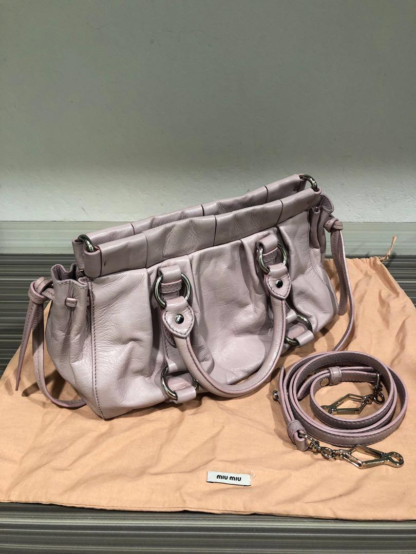 f8d56b23155 Miu Miu Vitello Lux Handbag in Pink Mughetto