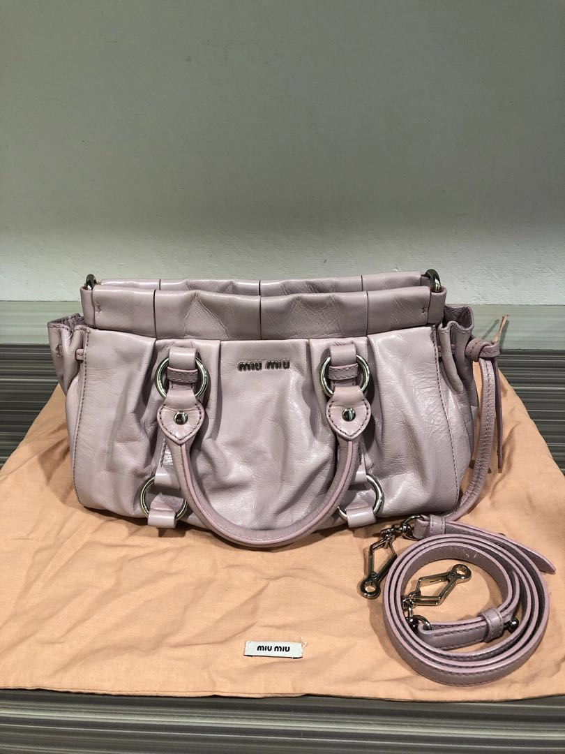 8cfadda9930a Miu Miu Vitello Lux Handbag in Pink Mughetto