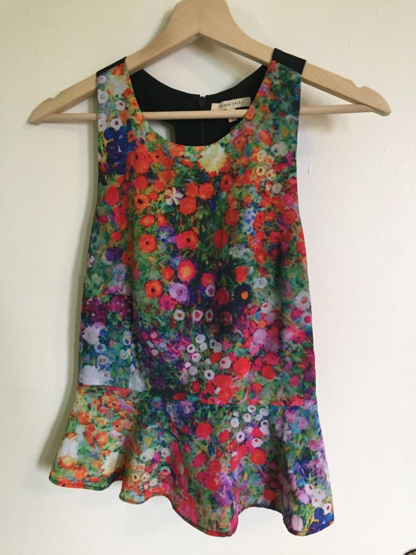 ModCloth Floral Top - Size Small (Price reduced!!)