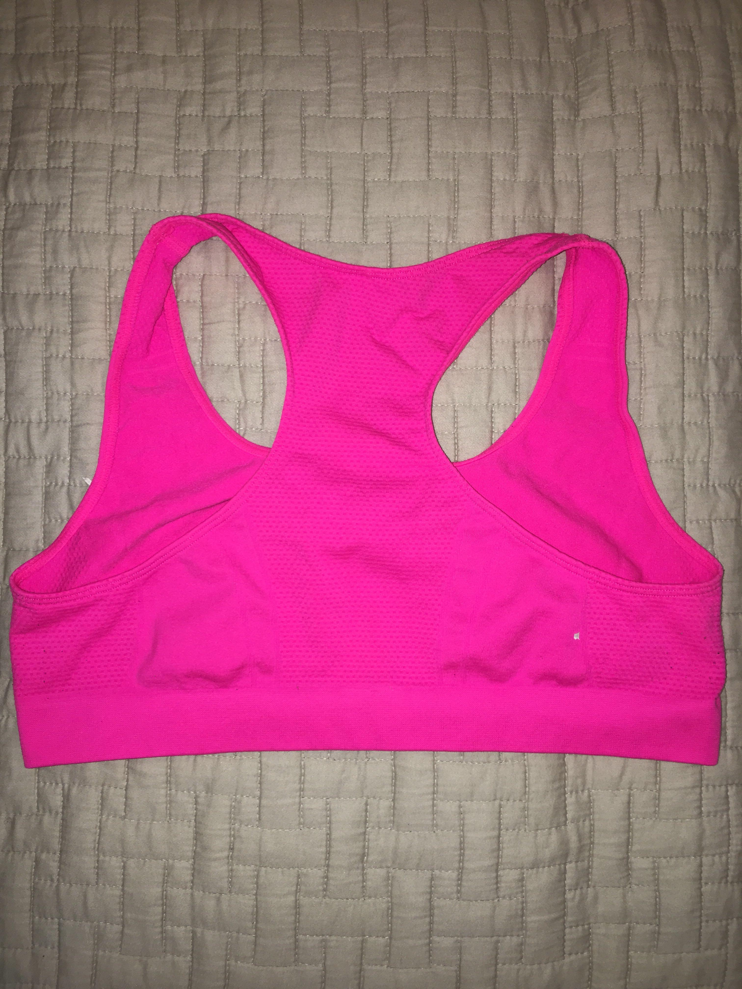 neon pink sports bra