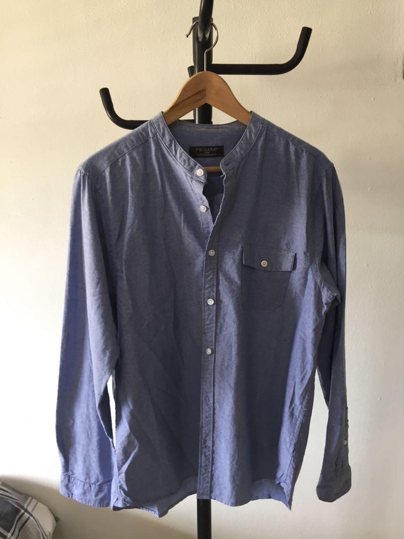 4bb102e36ec027 Primark Grandad Long Sleeve Shirt (Blue), Men's Fashion, Clothes, Tops on  Carousell