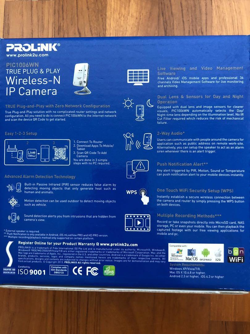 Prolink Wireless IP camera- brand new, Electronics, Others