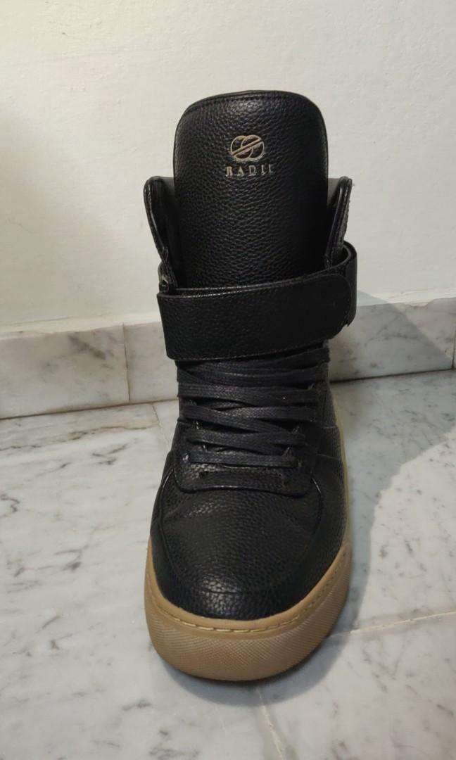 [RADII] Mens Black Leather High Tops with Gum Sole