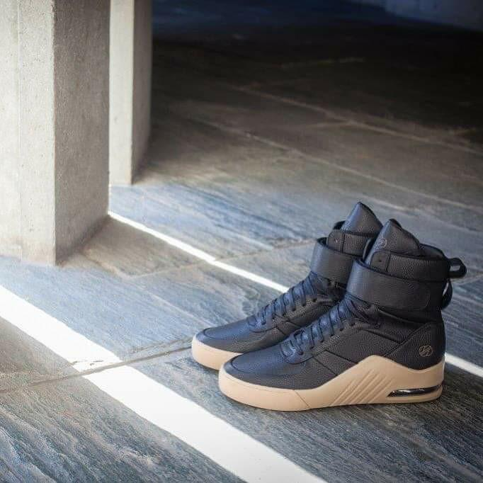 [ RADII ] Mens Black Leather High Top Sneakers with Gum Sole