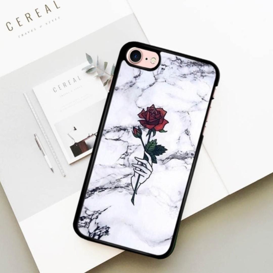 rose flower Marble Caricature Art Pattern Plastic Hard Phone Cover for iPhone 6 / 6Plus / 6S / 6SPlus / 7 / 7Plus / 8 / 8Plus / X