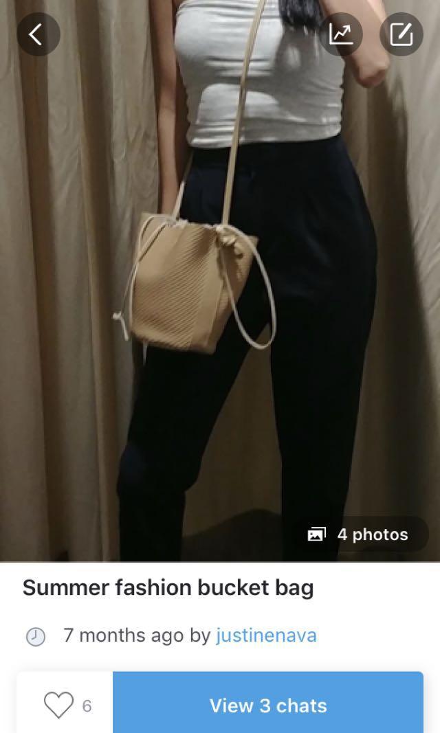 Summer straw inspired rattan bucket bag