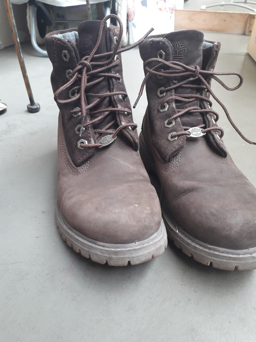 the latest lace up in low priced Timberland Suede Brown Boots size 38