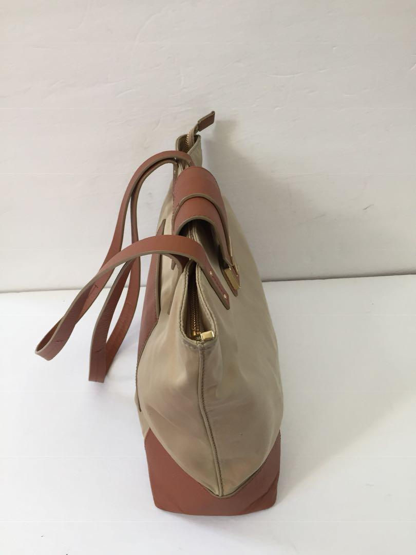 Tory Burch Beige Nylon Brown Leather Trim Tote Handbag Shoulder Bag