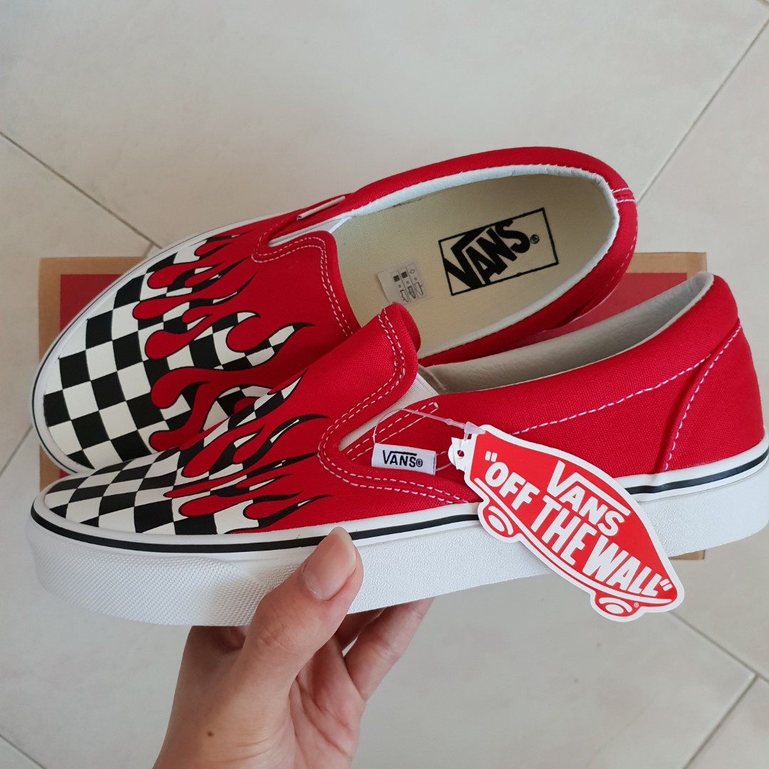 0a4ab022ad FINAL SALE! US8 Vans Checker Flame Slip On Red Sneakers ...