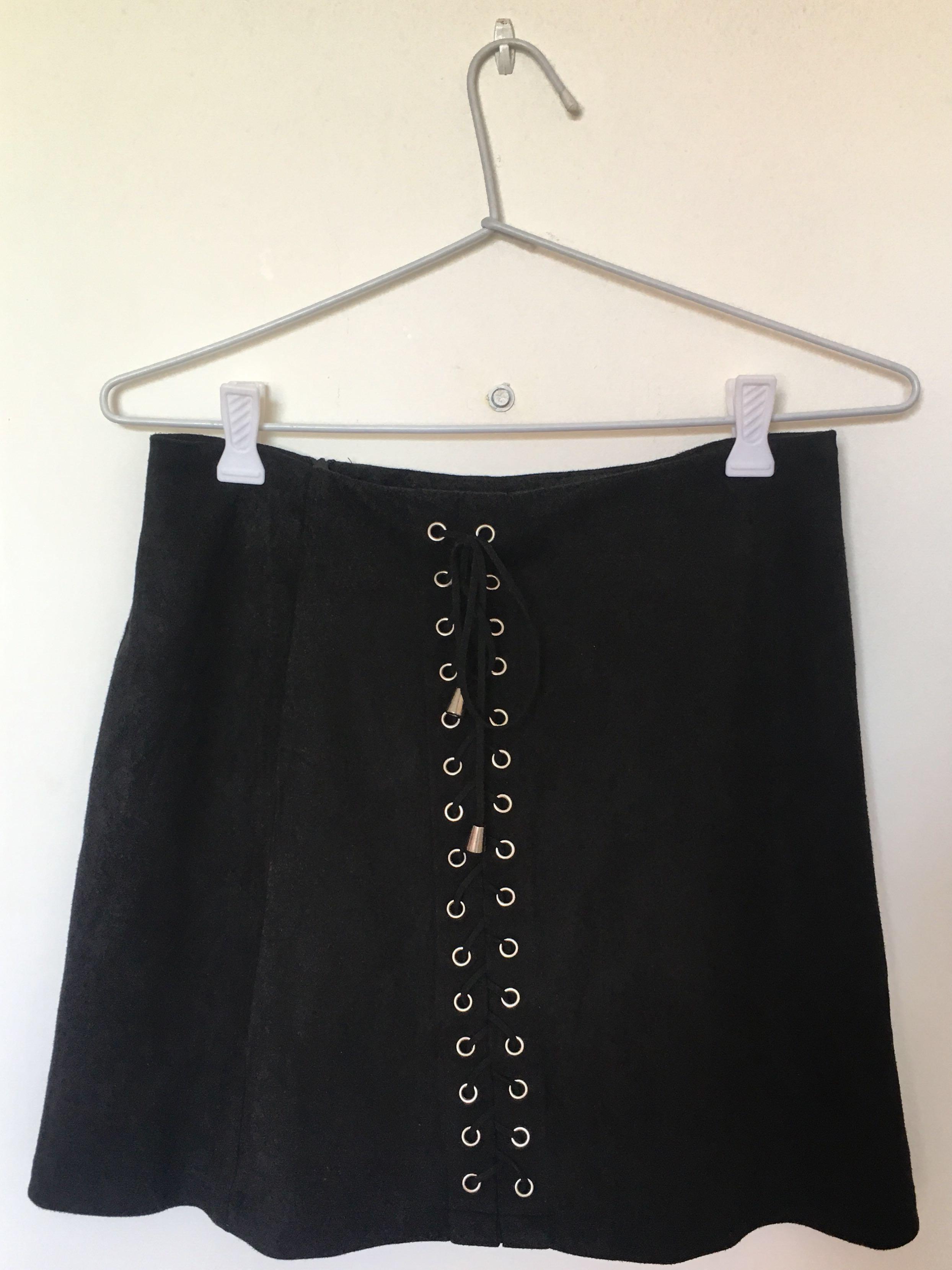 velour black mini skirt with lace up detail, Harper & Me