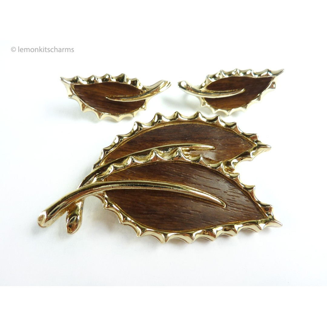 504a48063 Vintage 1968 Sarah Coventry Leaf Brooch Earrings Set, st38, Women's ...