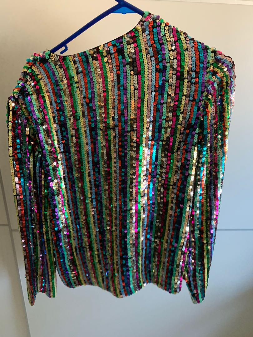 VINTAGE CRAZY RAINBOW FESTIVAL SEQUINNED JACKET JUMPER SHIRT