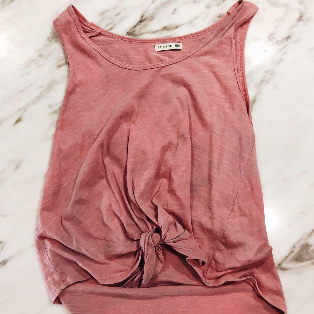 Washed Pink Cotton On Tank Top