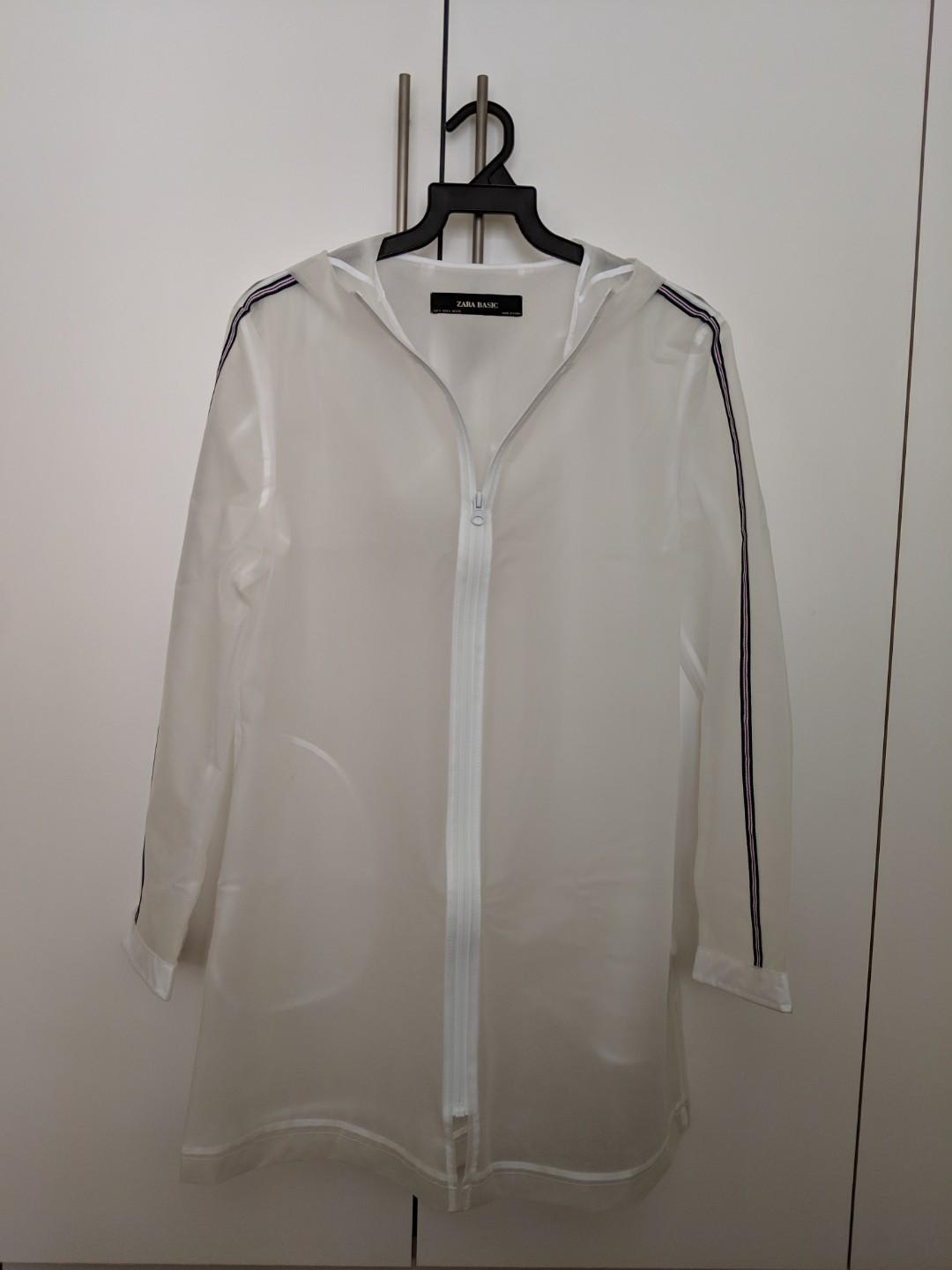 world-wide renown outlet in stock Zara white transparent raincoat size S, Women's Fashion ...