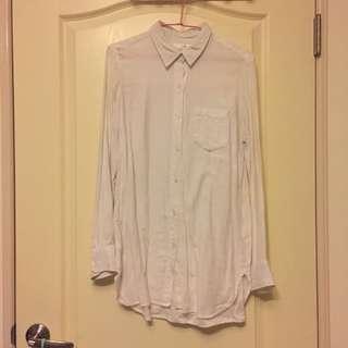 🚚 白色長版襯衫