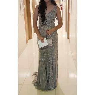 Sleeveless Silver Long Gown (Gown by Erwin Tan)