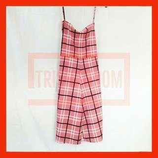 Knee length Jumpsuit (Checkered) (Pink)
