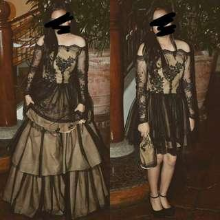 2-in-1 Long Sleeves Lace Gown (For Sale)