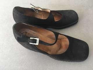 Mango Black Suede Wedge Heels