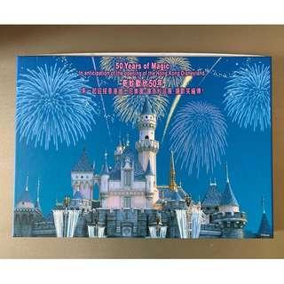 (珍藏) 迪士尼樂園金輝慶典紀念郵票小版張及勳章套裝 Disneyland Golden Celebration Stamp Pane and Pin Commemorative Set