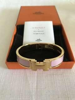 Original Authentic Hermès Clic H Bracelet pink rose nacarat