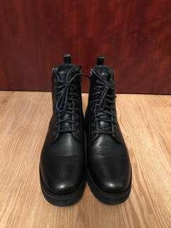 Puzzle Leather Boots #Black Size 39