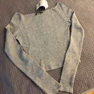 grey off shoulder thermal top