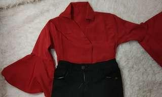 Formal red blouse / blouse kantor