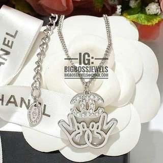 Silver Diamond Like Crystals Necklace Chain