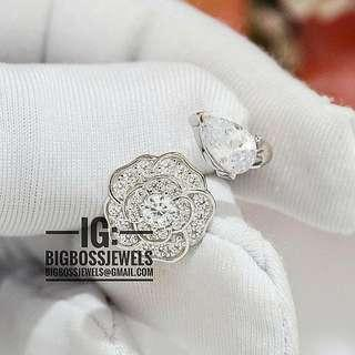 Silver Crystals Camelia Rose Flower Ring 925 Silver