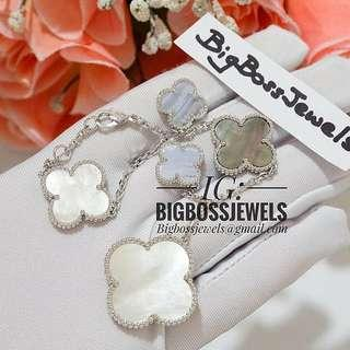 Elaborate Silver Mother of Pearl Sea Shell Clover Bracelet Chain Not 916 24k