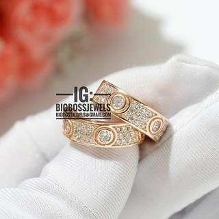 Rose Gold Diamond like Crystals Hoop Earrings Ear Studs 925 Silver
