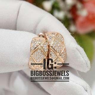 Rose Gold Diamond Like Crystals Earrings Ear Studs Hoop Style 925 Silver