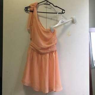 Saba One Shoulder Dress in Peach [#80]