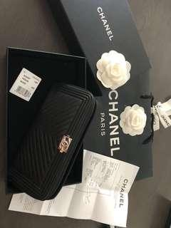 Authentic Chanel boy wallet in black