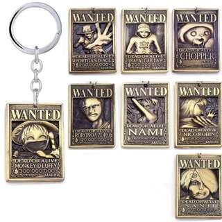 ONE PIECE ARREST WARRANT KEYCHAIN KEY CHAIN LUFFY ZORO NAMI SANJI NICO ROBIN CHOPPER ACE